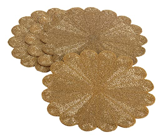 Gold Flower Design Beaded Placemat - Set of 4