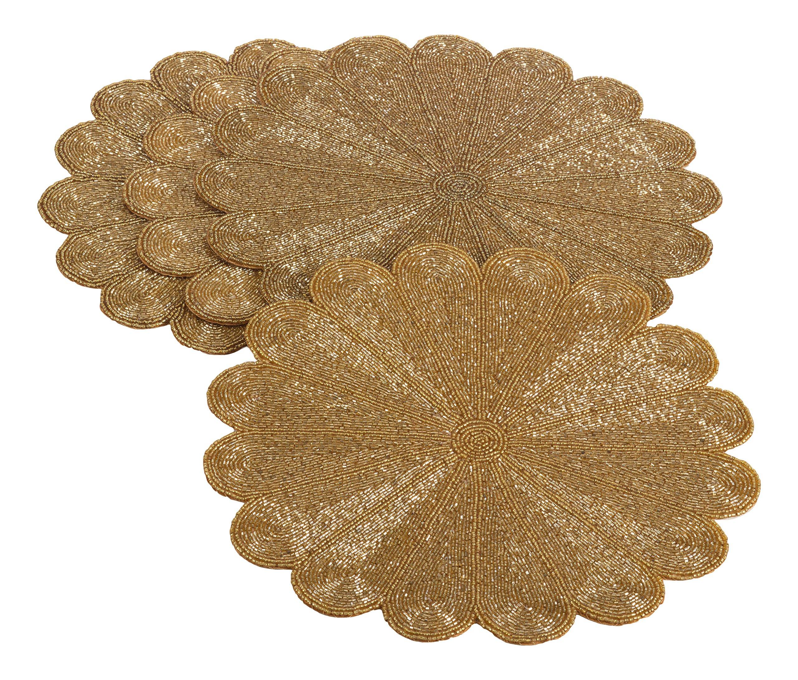 Saro LifeStyle 201.GL15R  Flower Design Beaded Placemat, Gold, 15'' (Set of 4 pcs)