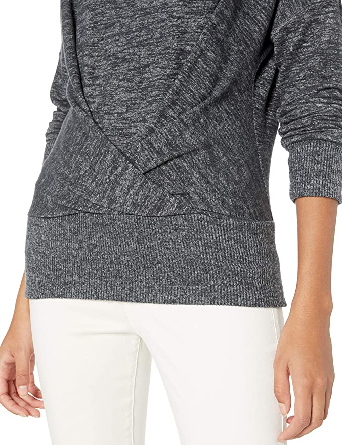 Marchio Daily Ritual Cozy Knit Pleat Front Draped Sweatshirt athletic-shirts Donna
