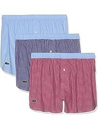 Lacoste Mens Men's Underwear Cotton Woven Boxers, 3 Pk Underwear