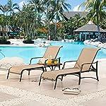 LOKATSE HOME Outdoor Patio Adjustable Metal Chaise Lounge Chair Recliner Set