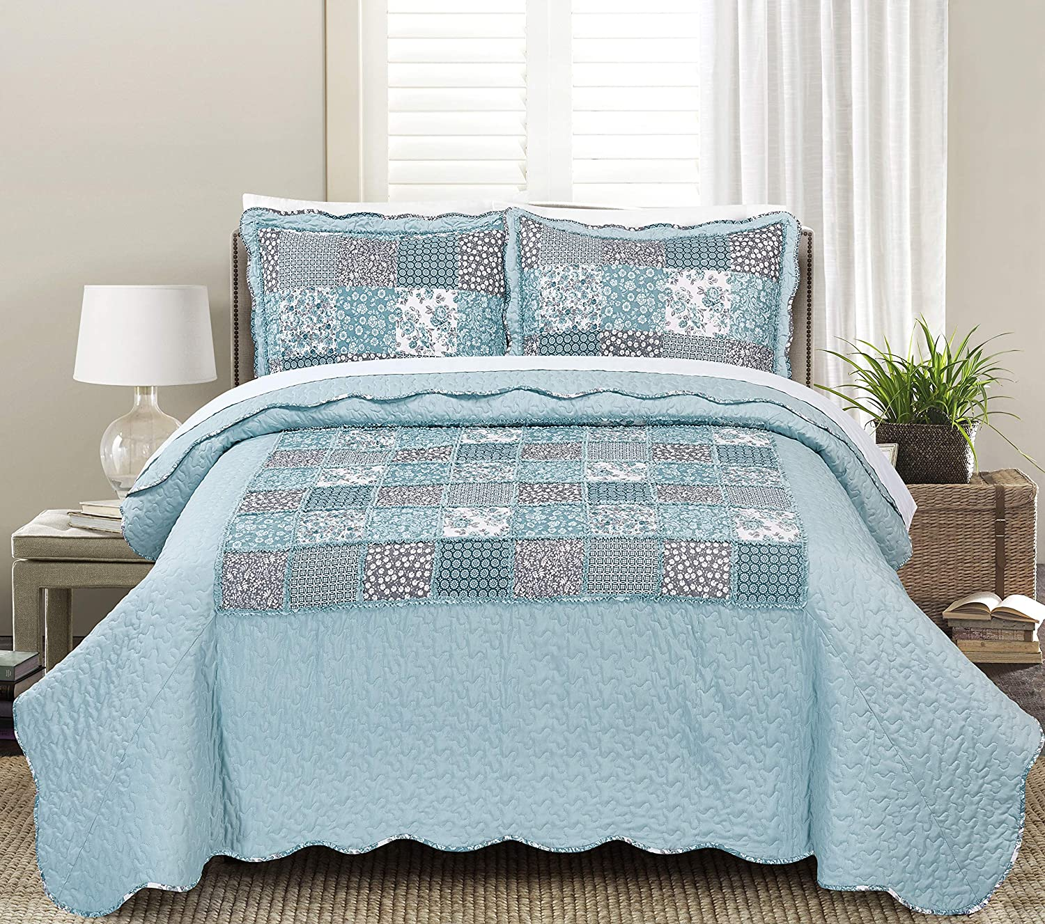 Geraldine Full Queen Blissful Living Luxury Ruffle Quilt Set Including Shams - Lightweight and Soft for all Seasons - Beatrice Lavender - King