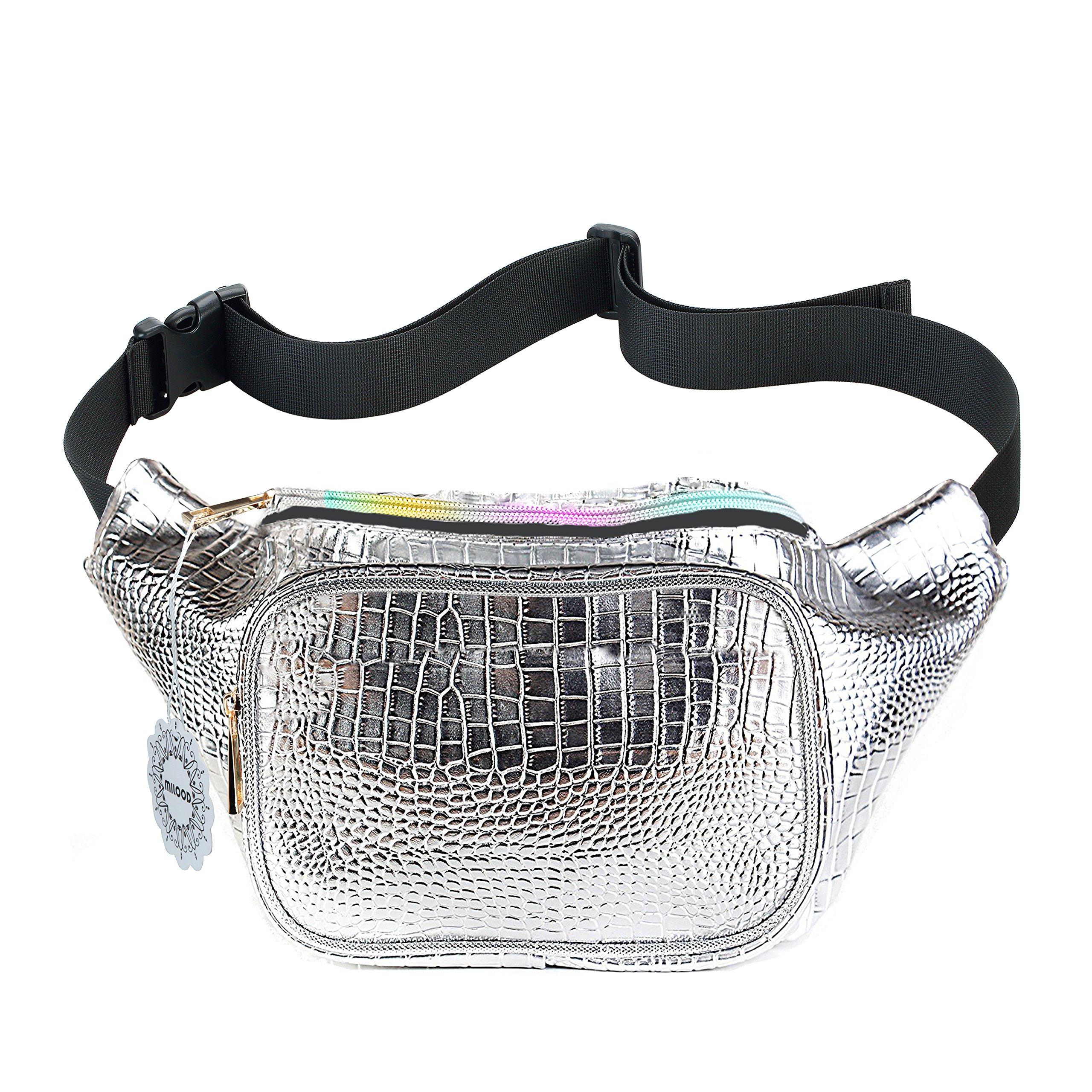 Shiny Neon Fanny Bag for Women Rave Festival Hologram Bum Travel Waist Pack (Crocodile Silver)