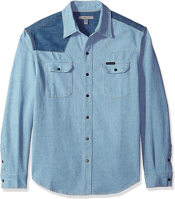Calvin Klein Hombre 41H3643 Manga Larga Camisa de Botones - Azul - Small: Amazon.es: Ropa y accesorios