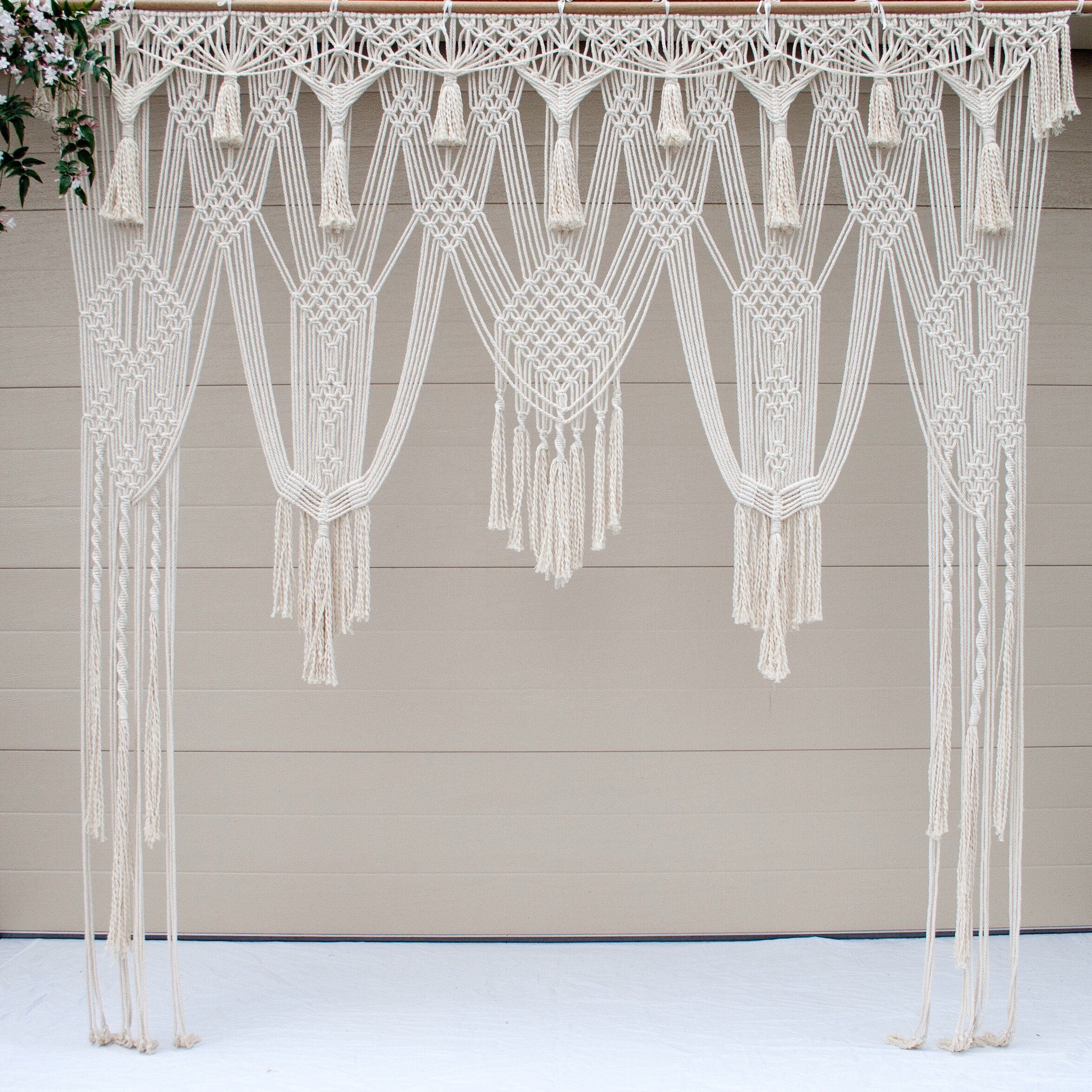 RISEON Large BOHO 79''W x 86''L Macrame Wedding Backdrop, Macrame Wedding Arch Arbor, Macrame Wall Hanging,Macrame Door Hanging,Room divider,macrame Curtains,Window Curtain for Decor at Ceremonies