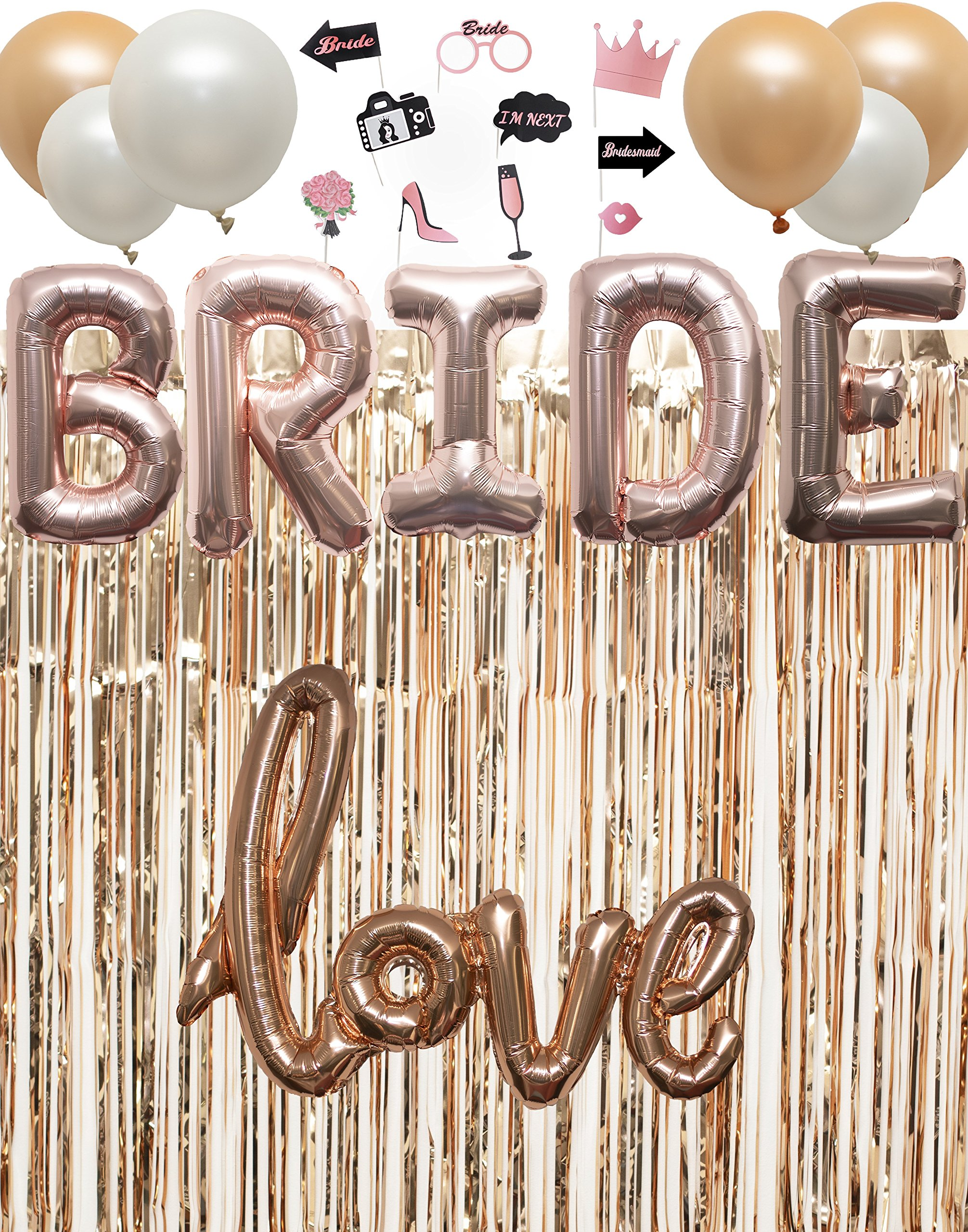 Rose Gold Bachelorette Party Bridal Shower Decorations Kit with Photo Booth Props (23 Pieces)
