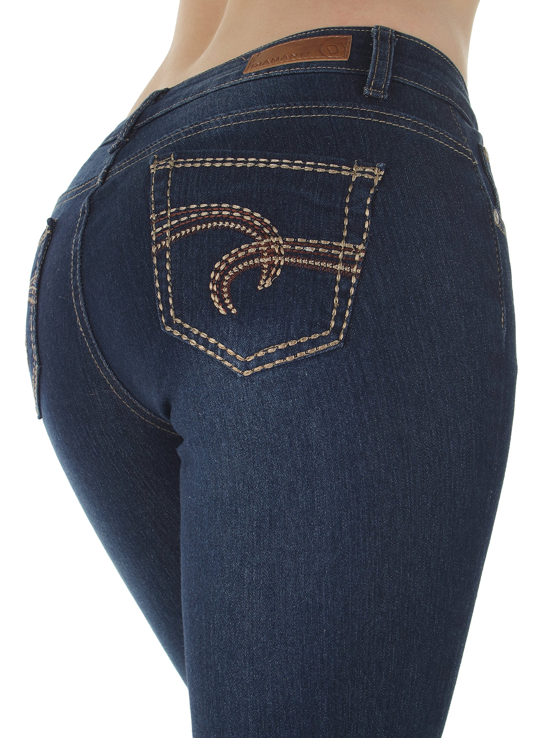 Fashion2Love N536BT – Classic Design, Embellished and Stylish Sexy Low Rise Boot Leg Jeans in Navy Size 7