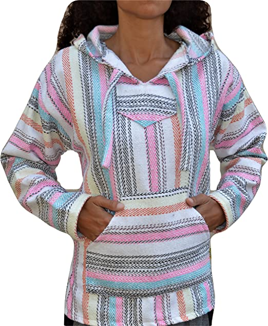 3XL  Baja Sufer Hoodie Pink Black Whit Pullover Poncho Mexican Sweatshirt Jerga