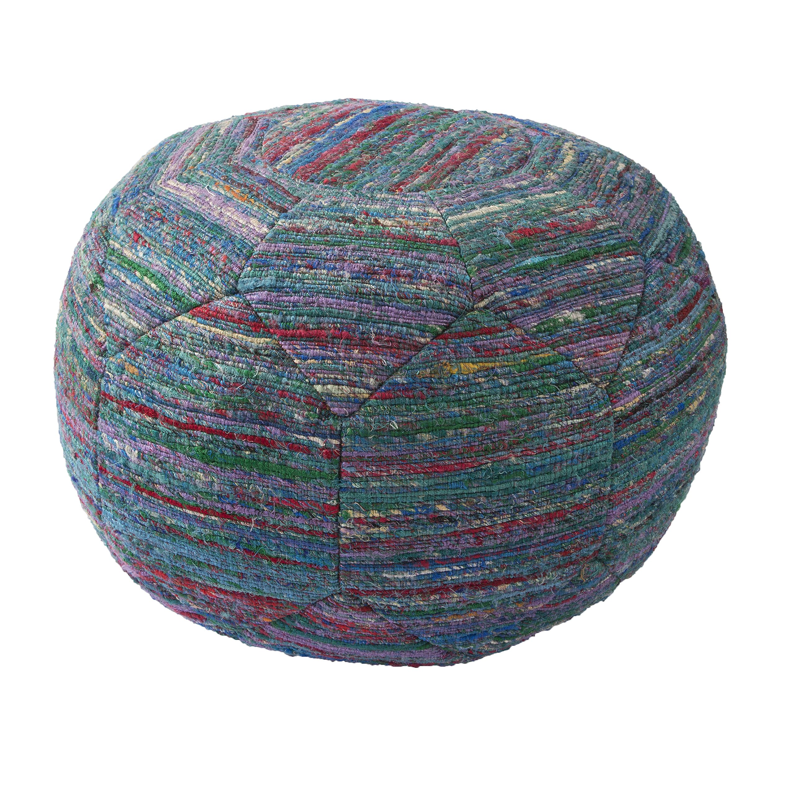Jaipur Solid Pattern Blue Rayon and Polyester Pouf, 20-Inch x 20-Inch x 14-Inch, Deep Lake Np-2