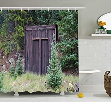 Ambesonne Outhouse Shower Curtain Farm Life House Wooden Door Of Cottage Hut In Woodland Leaves