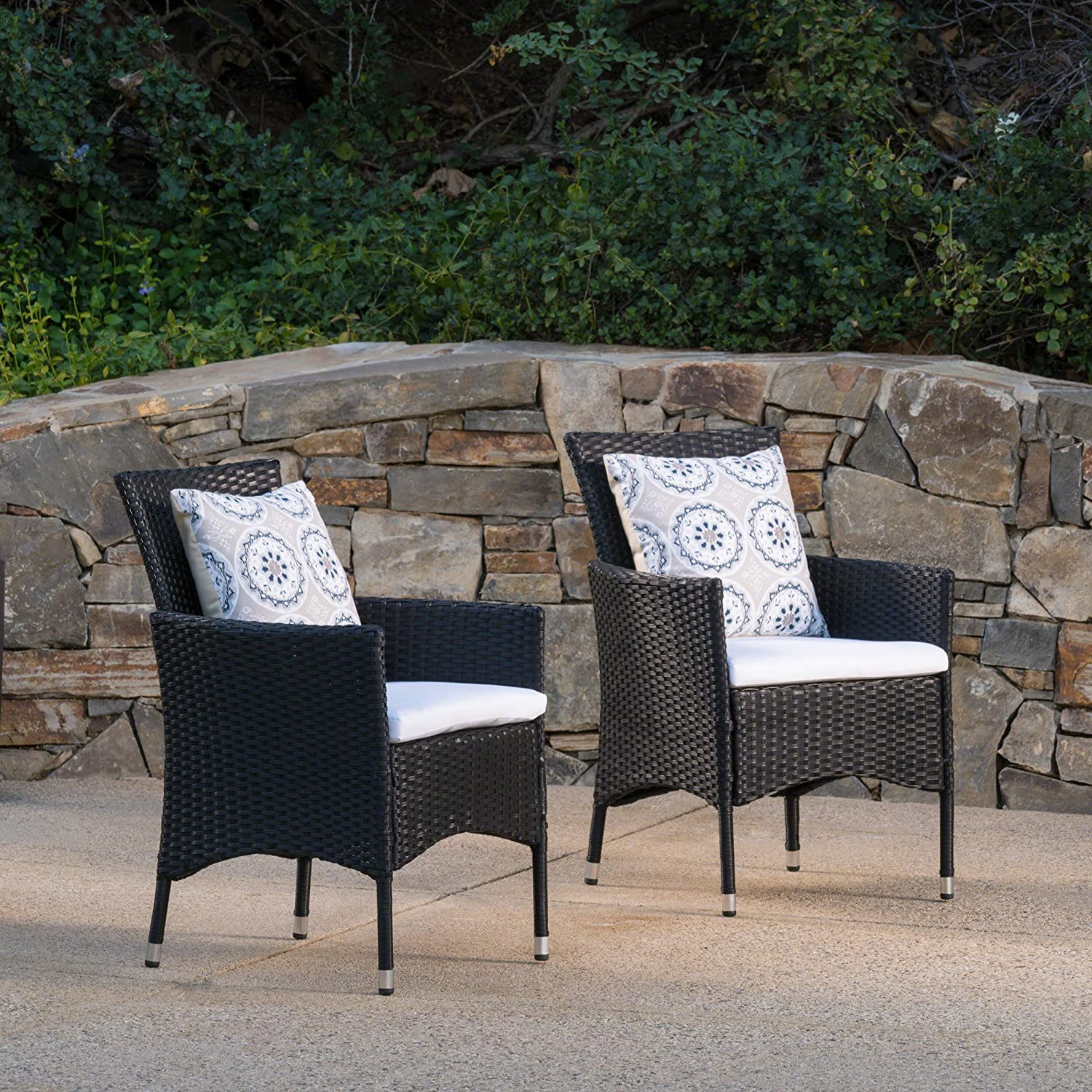 Christopher Knight Home Curtis Outdoor Black Wicker Dining Chairs with White Water Resistant Cushions (Set of 2)