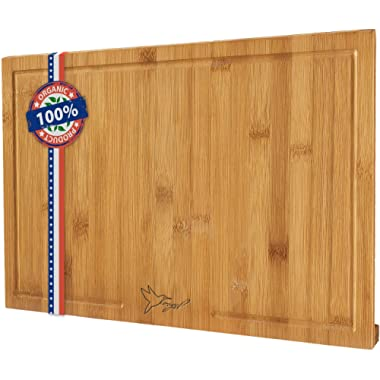 "EXTRA LARGE Organic Bamboo Cutting Board, Chopping Board for Kitchen – 18x12"" Size – Grooves to Hold Liquids During Cutting – Elegant, Antibacterial & Durable – Non-absorbing & Non-Slip"