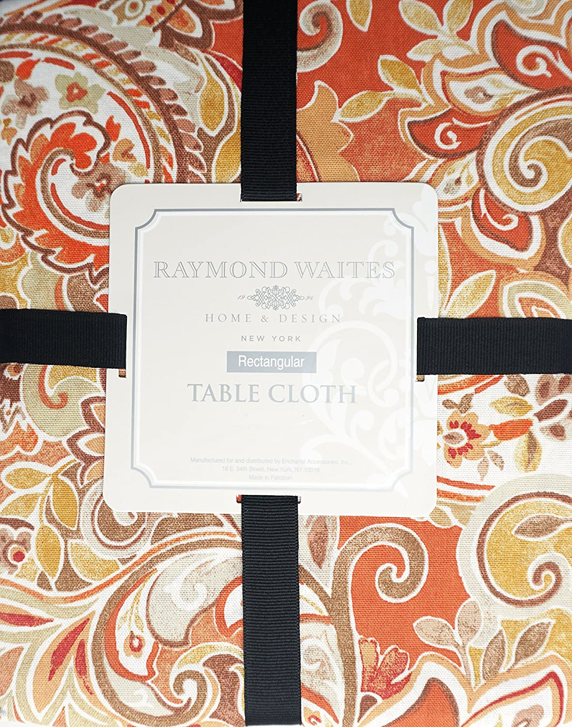 Amazon.com: Raymond Waites Fabric Tablecloth Floral Pattern In Shades Of  Brown Orange Cream 60 Inches By 84 Inches: Home U0026 Kitchen