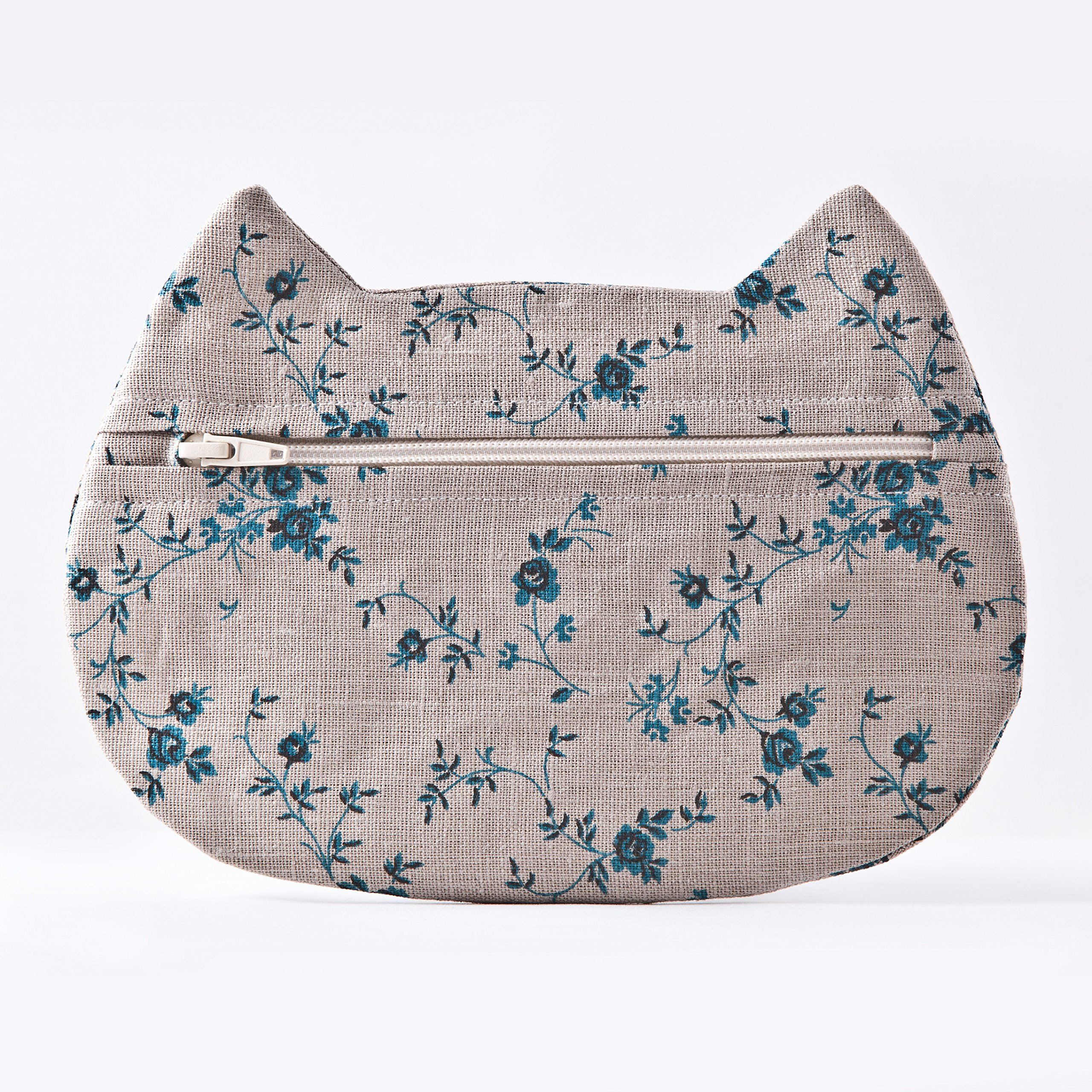 Gray Floral Cosmetic Bag, Cat Makeup Bag, Pencil Case, Gifts for Travelers, Gray Toiletries Bag, Beauty Bag