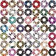 SUBANG 30 Count Chiffon Flowers Scrunchies Hair Elastics Scrunchies Hair Bands Ties for Women Girls 50 Colors
