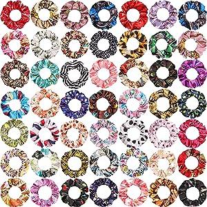 SUBANG 50 Pieces Satin Flowers Scrunchies Hair Scrunchies Elastics Hair Bands Ties for Women Girls, 50 Colors