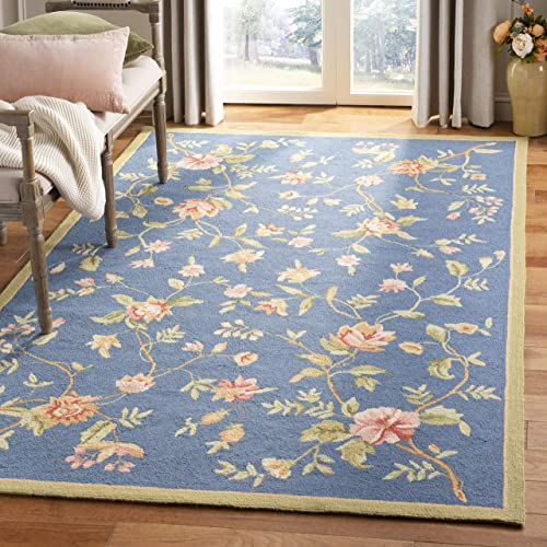 Safavieh Chelsea Collection HK263D Hand-Hooked Light Blue Premium Wool Area Rug 8'9″ x 11'9″