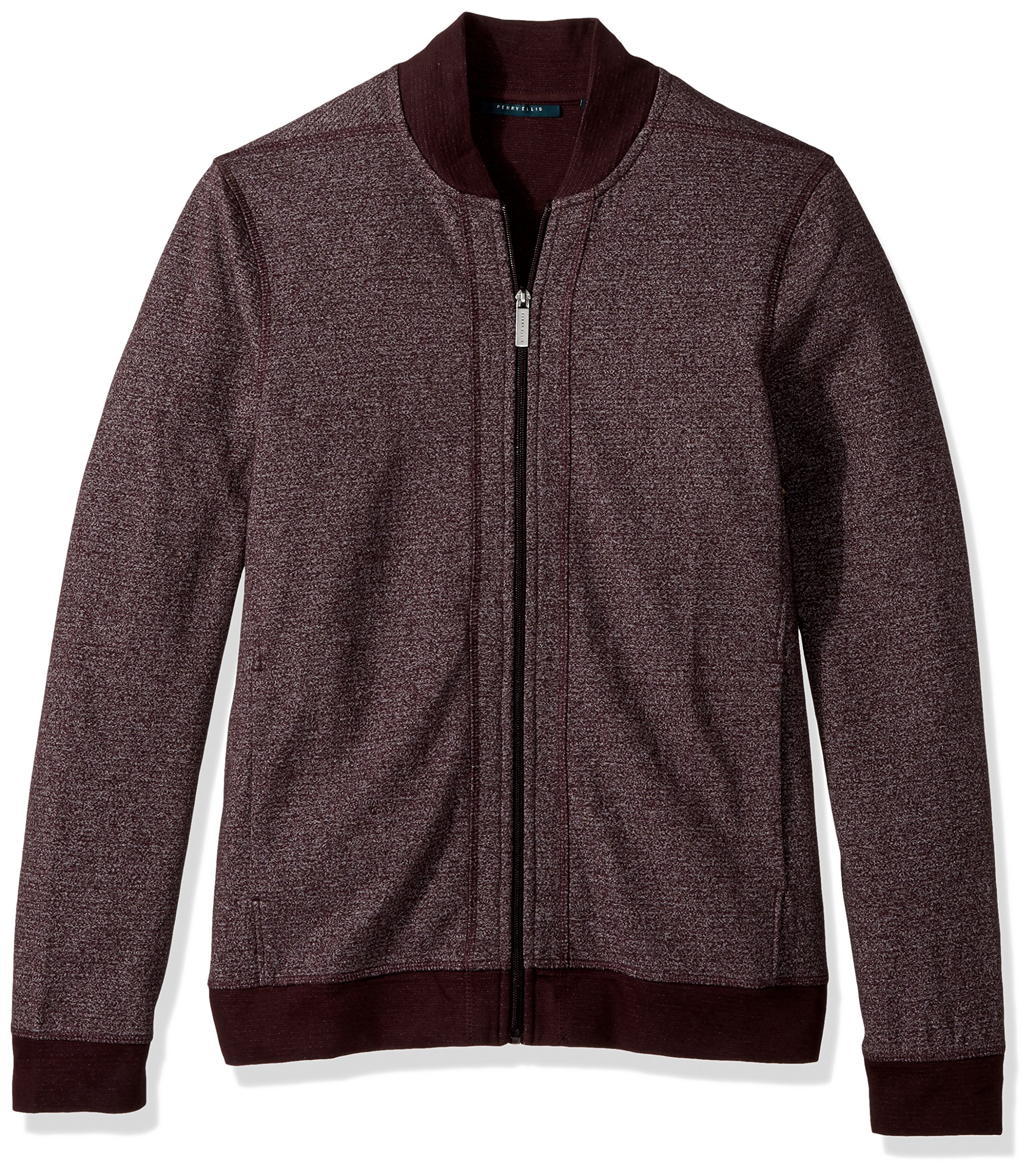 Perry Ellis Men's Texture Bomber Knit Jacket, Port, Large by Perry Ellis