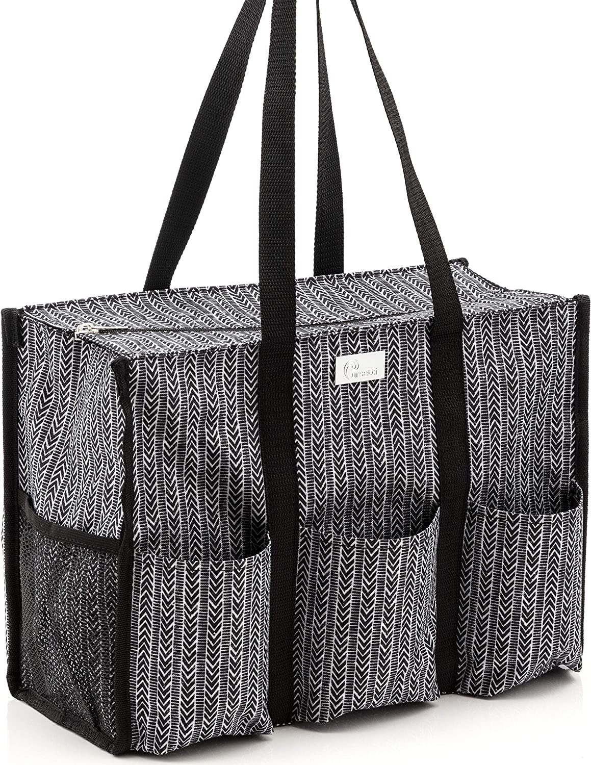 Pursetti Zip-Top Organizing Utility Tote Bag with Multiple Exterior & Interior Pockets for Working Women, Nurses, Teachers and Soccer Moms (Herringbone)