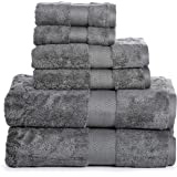 Luxury Cotton Bathroom Bath Towels: 6 Piece Towel Set for Household Bathrooms - Soft Plush
