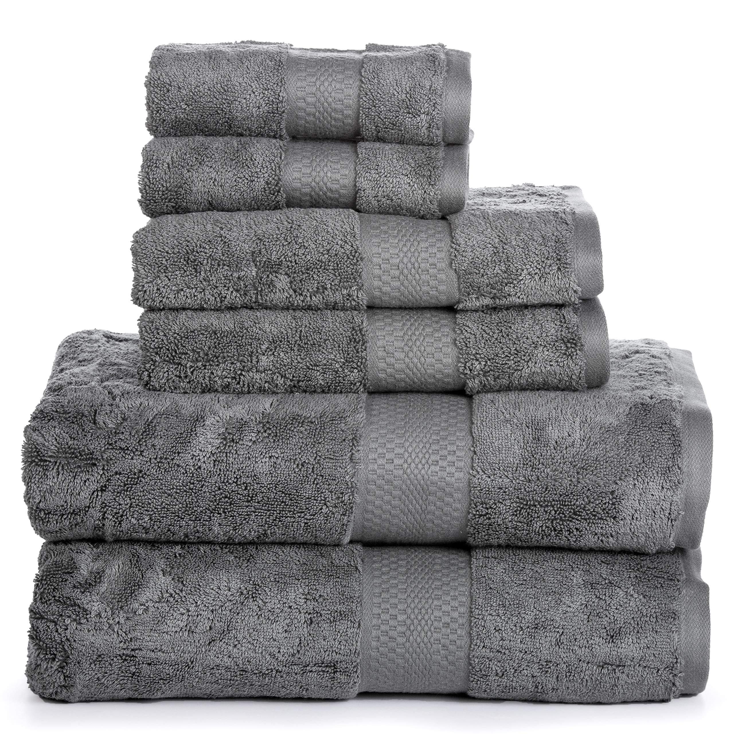 Luxury Cotton Bathroom Bath Towels: 6 Piece Towel Set for Household Bathrooms - Soft Plush and Absorbent Cotton with Double Stitch Hems - Bath / Shower Towels, Hand Towels, and Washcloths - GREY