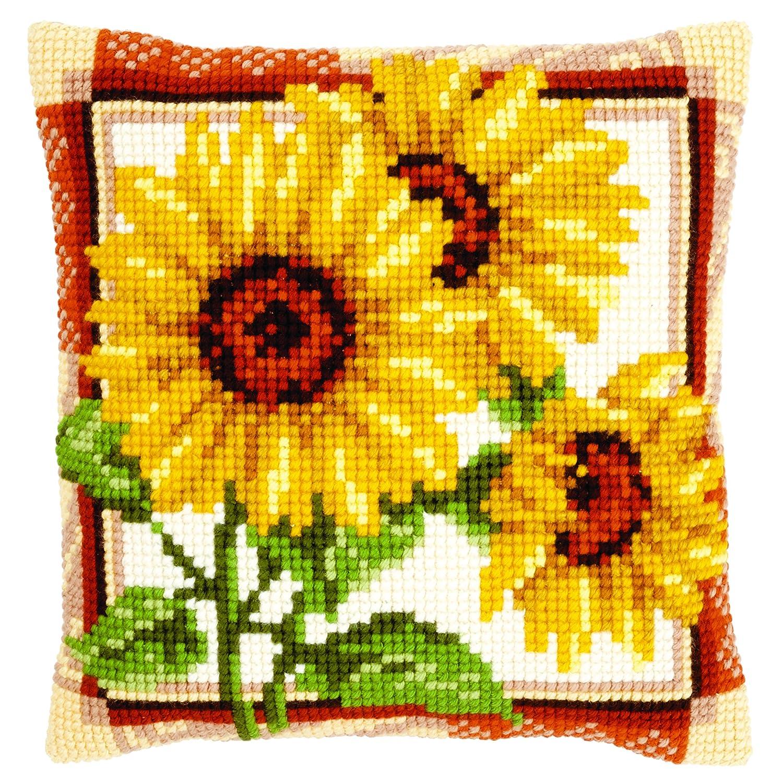 Vervaco stamped cross stitch kit cushion Sunflowers DIY