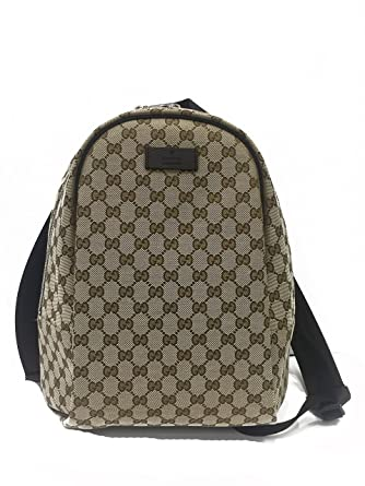 e6493ca0fc65c7 Amazon.com | Gucci Handbag (Backpack) Beige Canvas and Brown Leather ...