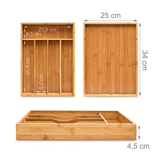 Amazon.com: Relaxdays Bamboo Cutlery Tray Wooden Silverware Kitchen Drawer Organizer Insert Separate With 5 Compartments: approx. 34 x 4.5 x 25.5 cm Bamboo, ...