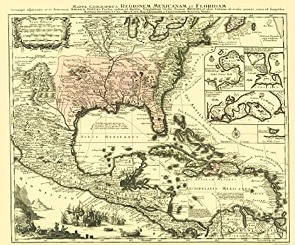 Old North America Map.Amazon Com Old North America Map Region Of Mexico And Florida