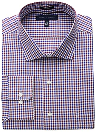 2567dd5a Tommy Hilfiger Men's Big Non Iron Tall Fit Check Spread Collar Dress Shirt,  Rouge,