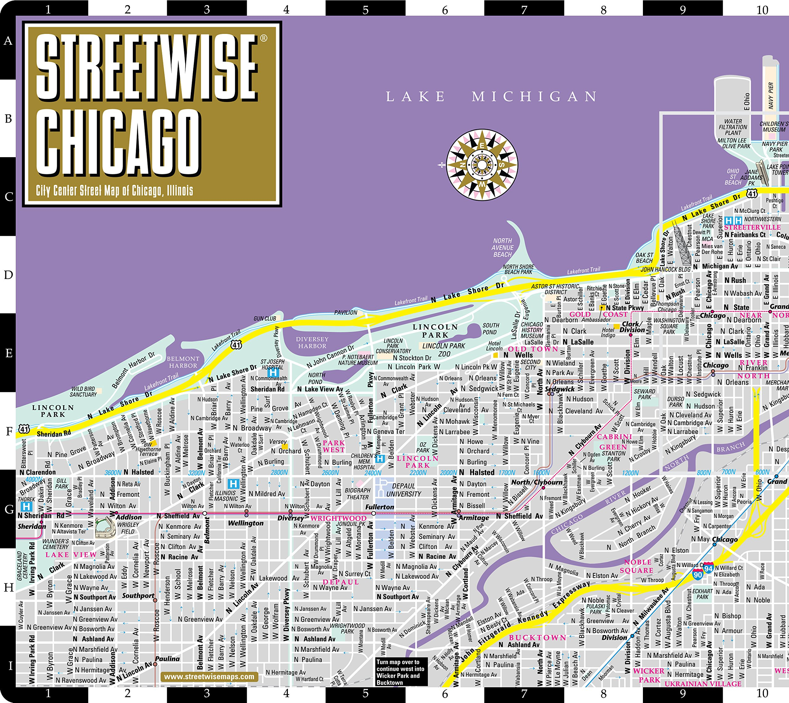 Chicago Street Map Streetwise Chicago Map   Laminated City Center Street Map of  Chicago Street Map