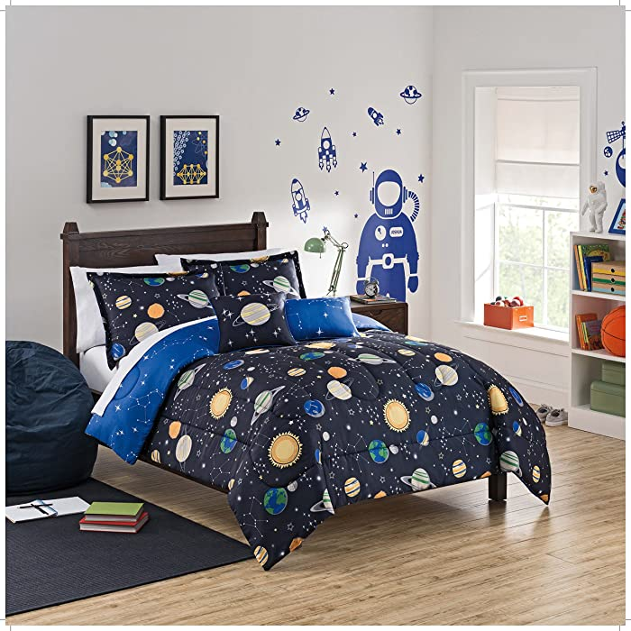 WAVERLY Kids Space Adventure Reversible Bedding Collection, Twin, Multicolor
