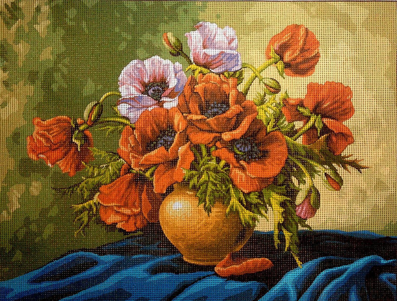 Needlepoint Kit flowers 15.7x11.8 40x30cm printed canvas 389 Hudemas