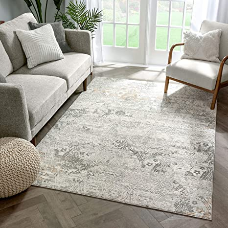 Amazon Com Well Woven Windsor Astrid Modern Vintage Floral Grey Area Rug 5 3 X 7 3 Ivory Furniture Decor