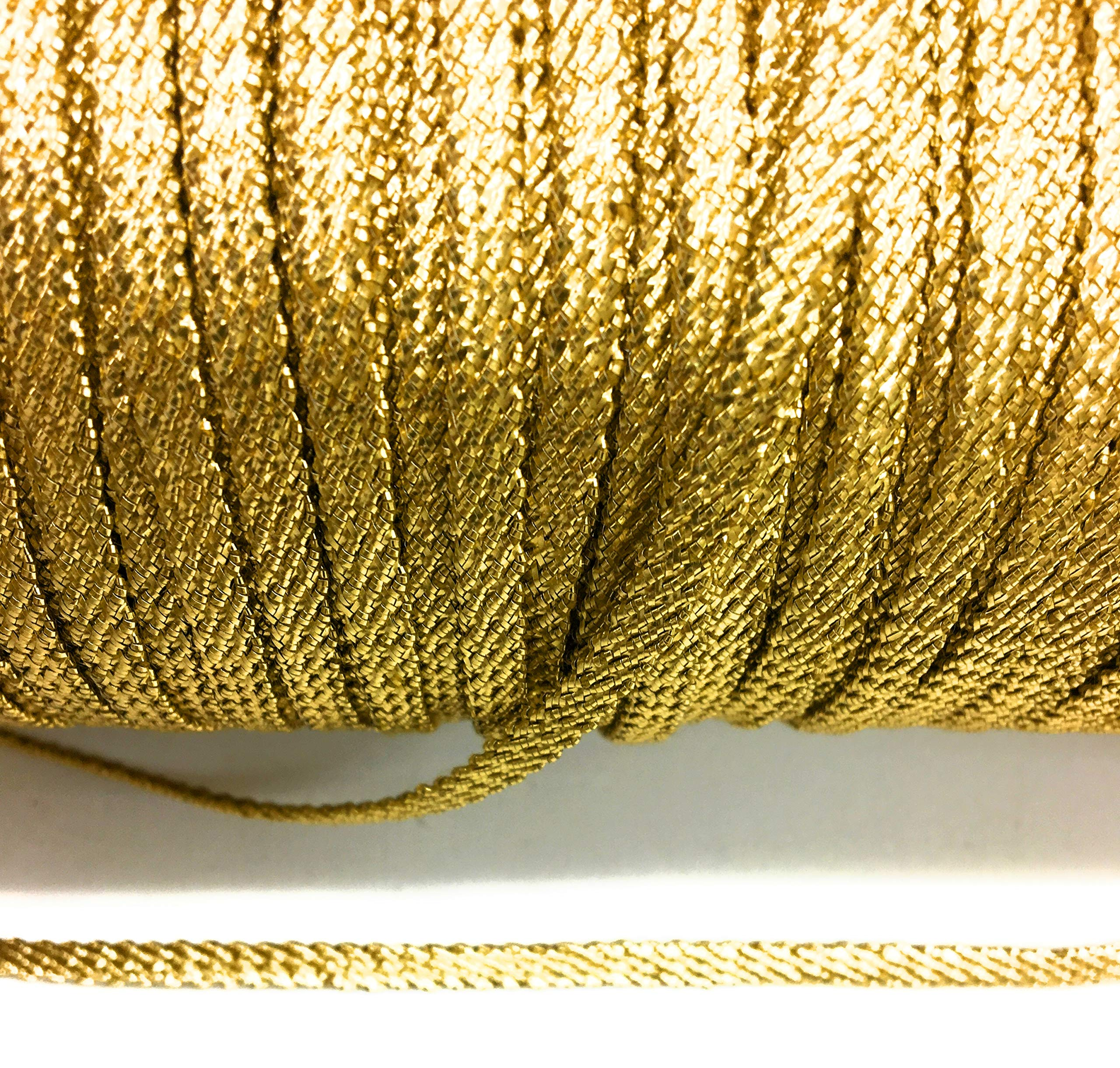 Thick Gold Metallic Flat Twisted Braid 1/4'' (7mm) Wide -2 mm Thick x 144 Yards by Katz Trimming / Trims Unlimited
