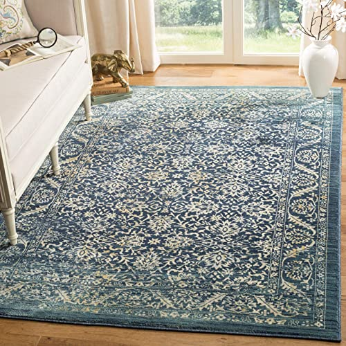 Safavieh Evoke Collection EVK507A Vintage Oriental Navy and Gold Area Rug 5'1″ x 7'6″