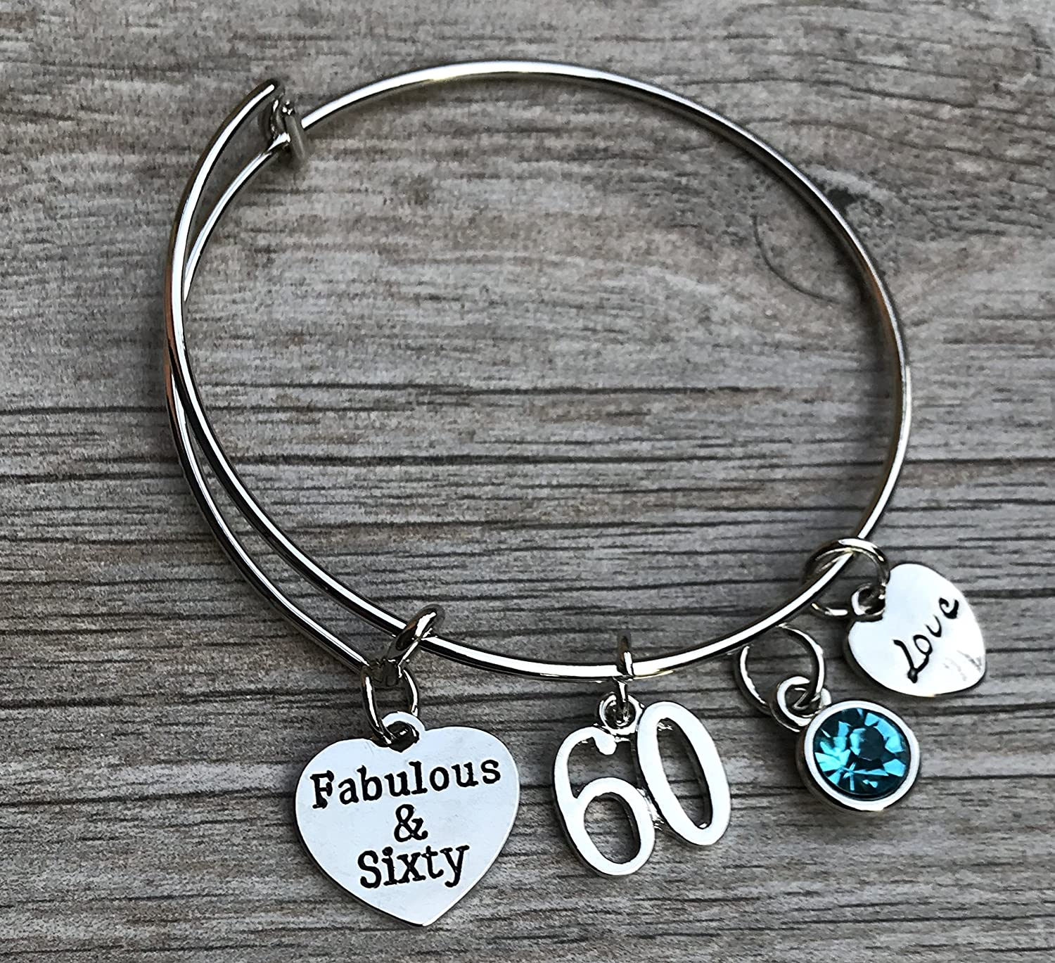 60th Birthday Bangle Bracelet with Birthstone Charm, Fabulous and Sixty Birthday Gifts for Women, Vintage 1958 Aged to Perfection Bracelet. 60th Bday Gifts for Her