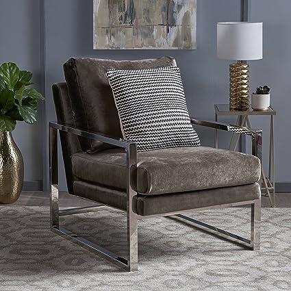 Enjoyable Amazon Com Electa Modern Grey Velvet Club Chair With Chrome Dailytribune Chair Design For Home Dailytribuneorg