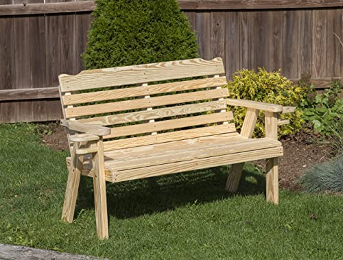 Amish Heavy Duty 800 Lb Classic Park Style Pressure Treated Garden Bench
