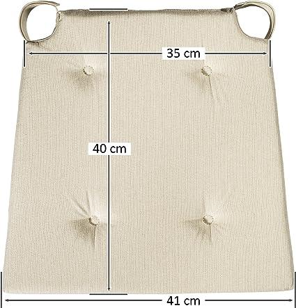 Delante x 40 x 5 cm Dimensiones: 42 detr/ás sleepling 190192 Conjunto de 4 Cojines para Silla Beige // 35