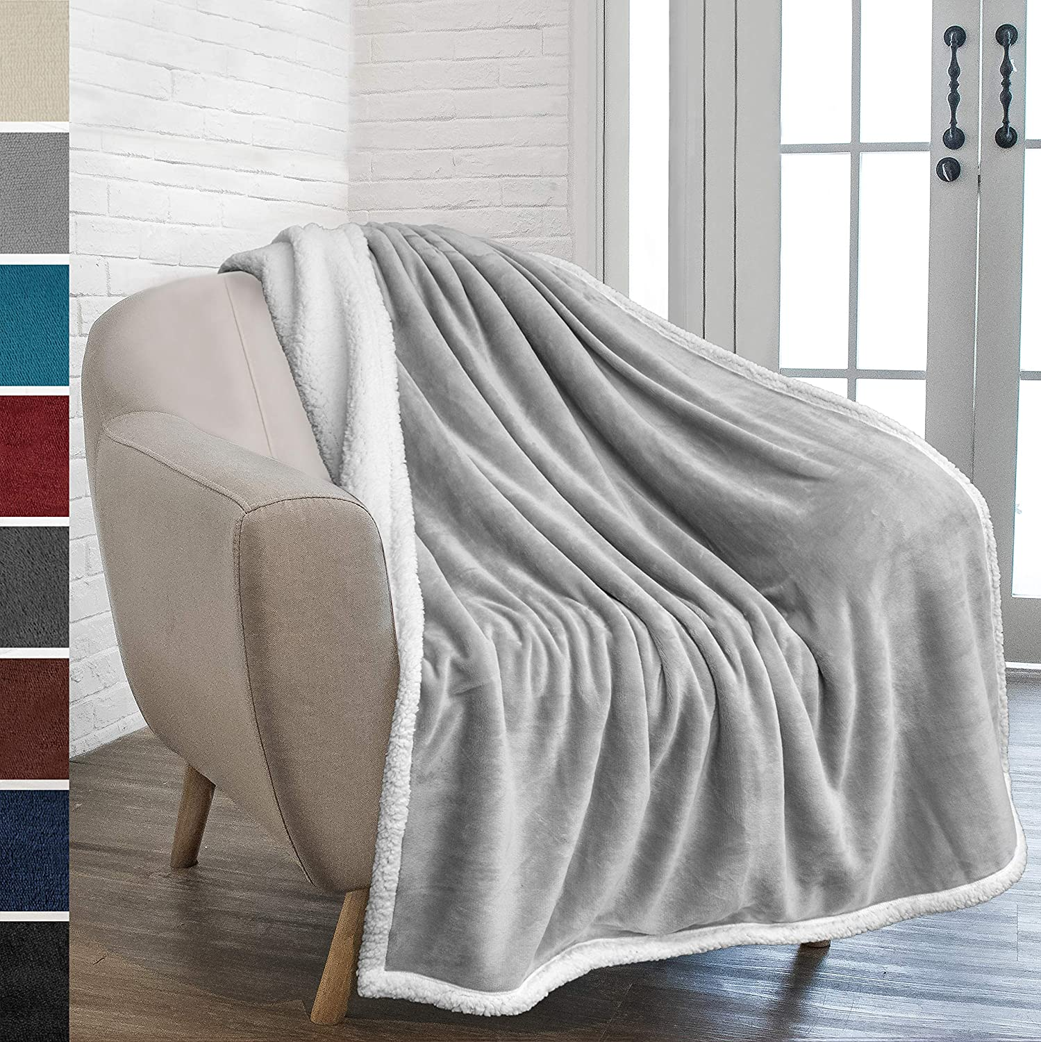 PAVILIA Premium Sherpa Fleece Throw Blanket | Soft, Plush, Fuzzy Light Gray Throw | Reversible Warm Cozy Microfiber Solid Blanket for Couch Sofa (Light Grey, 50x60 Inches)