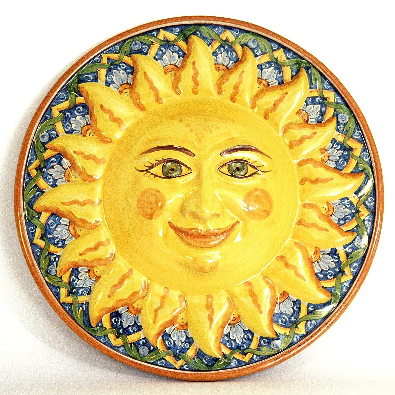 Sonne aus Keramik Wanduhr handbemalt, Sonne Sonne Sonne Caltagirone. b5ec76