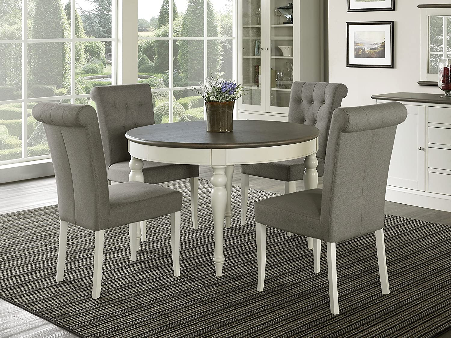 Everhome Designs – Vegas 5 Piece Round To Oval Extension Dining Table Set for 4 Parsons Chairs