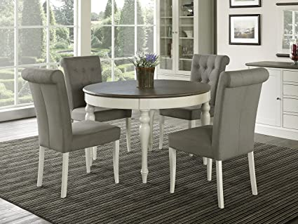 Vegas 5 Piece Round To Oval Extension Dining Table Set for 4 (Parsons Chairs ) : extension dining table set - pezcame.com