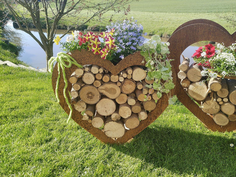 Herz aus Metall Deko Holz-Regal Garten Terrasse Edel-Rost