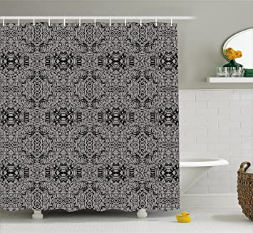 Amazon.com: Dark Grey Shower Curtain by Ambesonne, Abstract Antique ...