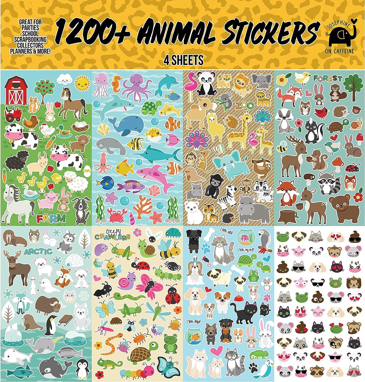 Josephine on Caffeine Animal Sticker Sheets (1200+ Count) Collection for Children, Teacher, Parent, Grandparent, Kids, Craft, School, Planners & Scrapbooking