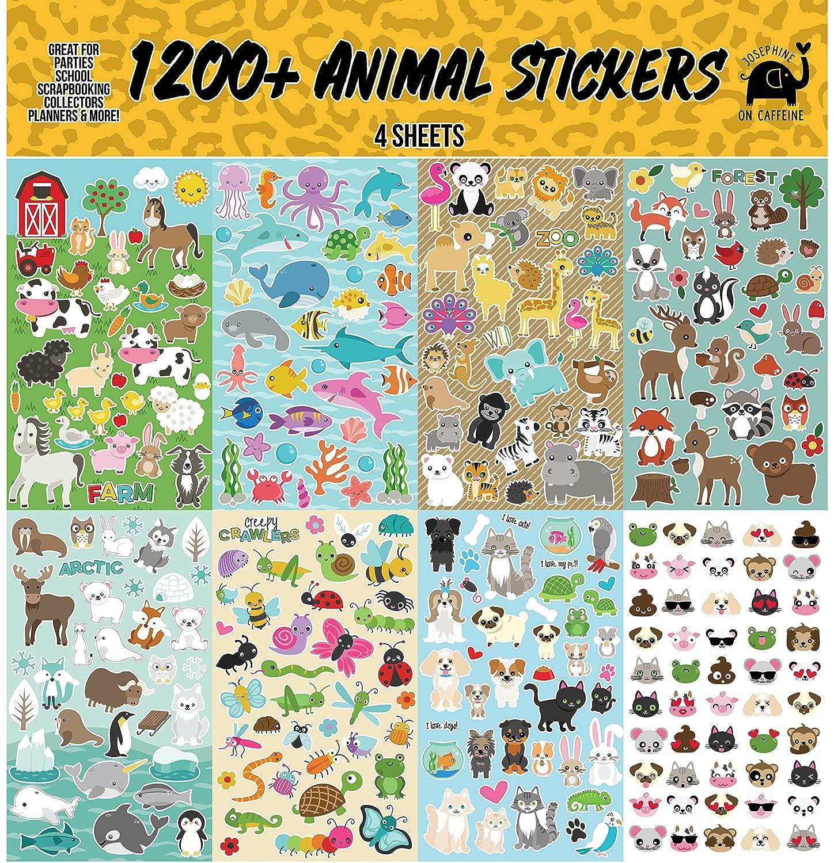Josephine on Caffeine Animal Sticker Assortment Set (1200+ Count) Collection for Children, Teacher, Parent, Grandparent, Kids, Craft, School, Planners & Scrapbooking