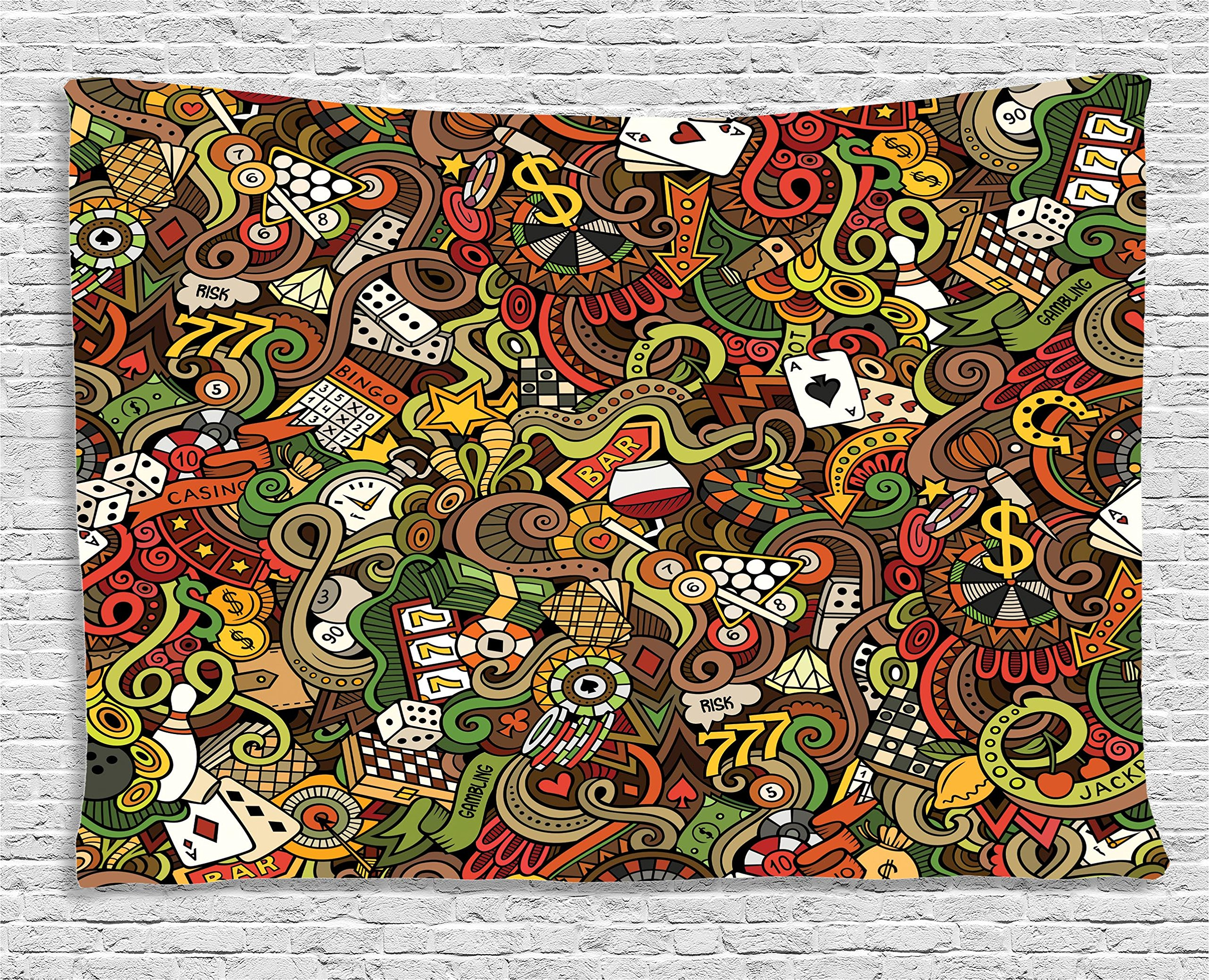 Ambesonne Casino Decorations Tapestry, Doodles Style Art Bingo Excitement Checkers King Tambourine Vegas, Wall Hanging for Bedroom Living Room Dorm, 60 W X 40 L inches