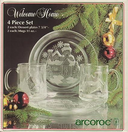 Amazon com | Welcome Home 4 Piece Set: 2 Each: Dessert Plates (7 3/4